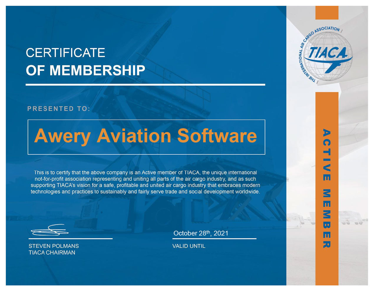 Awery Software is now an official member of TIACA