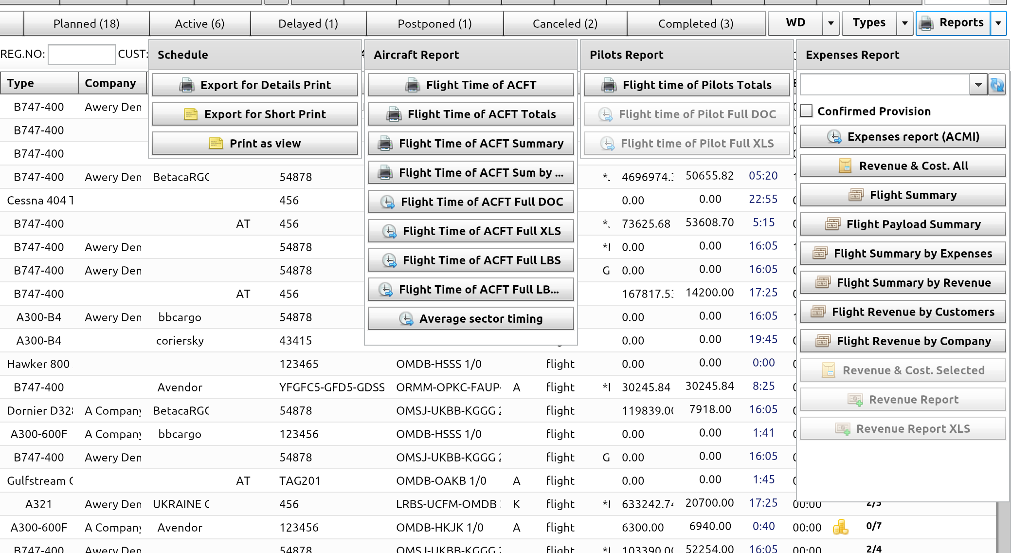 Flight list with reporting options