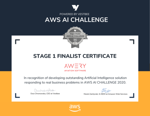 Awery  was recognized as a Stage 1 finalist in the AWS AI Challenge.
