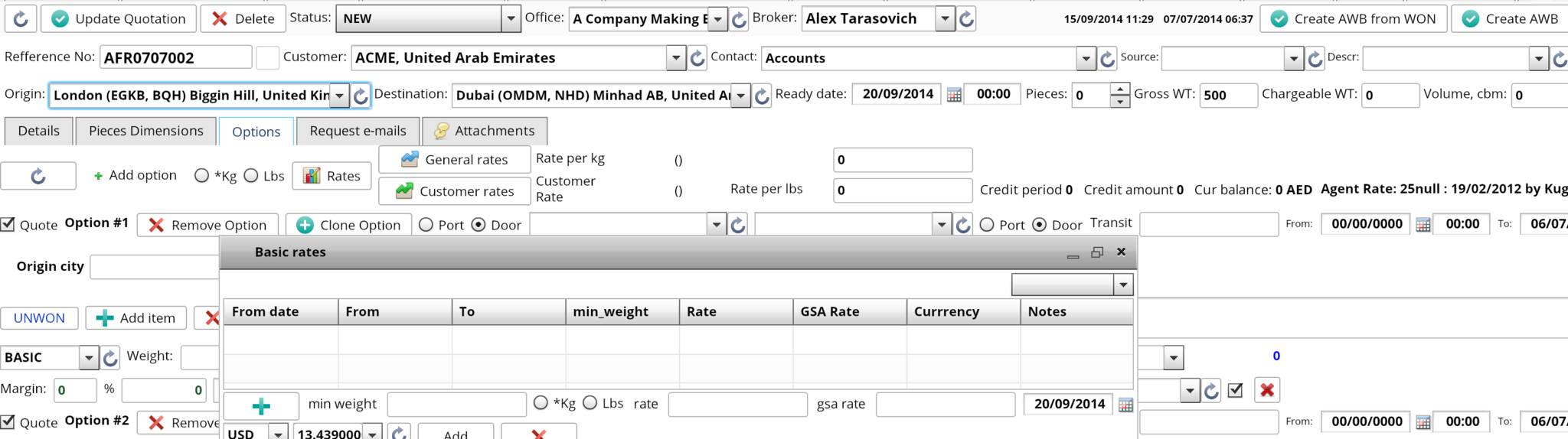 Cargo quotation creation interface