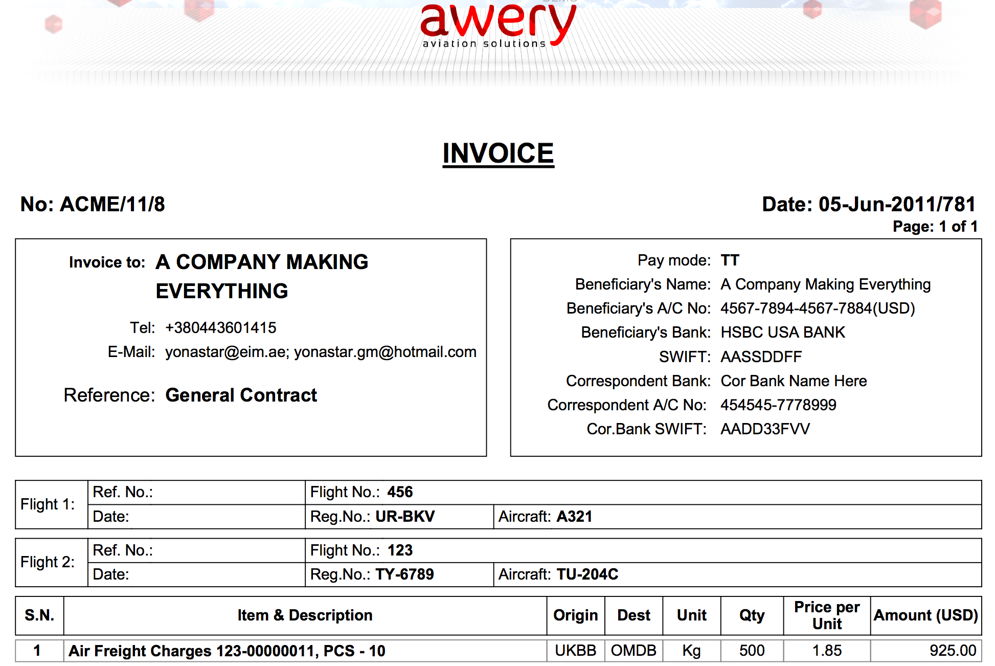Customizable invoice print out