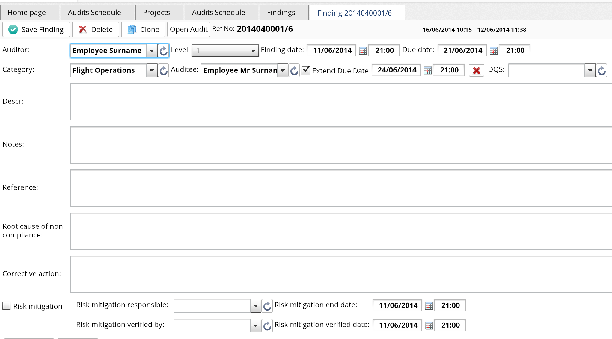 Audit creation interface